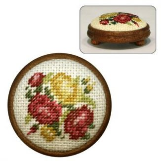 Dollhouse needlepoint footstool kit Summer Roses