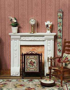 Dollhouse needlepoint firescreen
