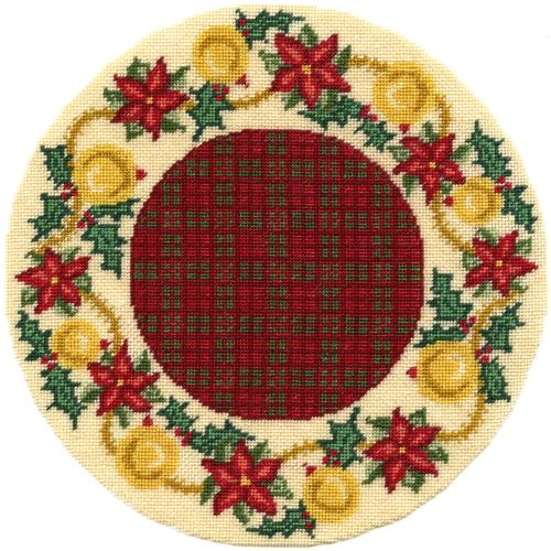 Dollhouse needlepoint Christmas tree mat - Poinsettia Garland