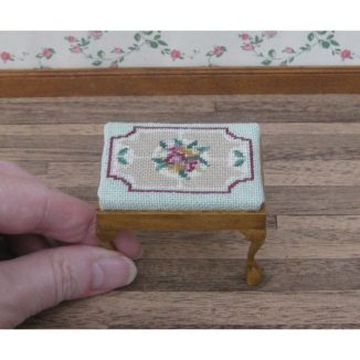 Alice green dollhouse miniature stool desk bench petit point kit furniture accessories