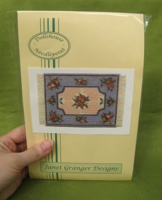 Alice blue small carpet rug dollhouse miniature needlepoint half cross stitch kit