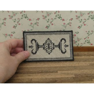 Alison charcoal small dollhouse miniature needlepoint petit point carpet rug kit
