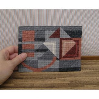 Alma grey gray Art Deco carpet rug dollhouse miniature needlepoint kit