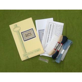 Bath blue small rug mat dollhouse miniature petit point kit