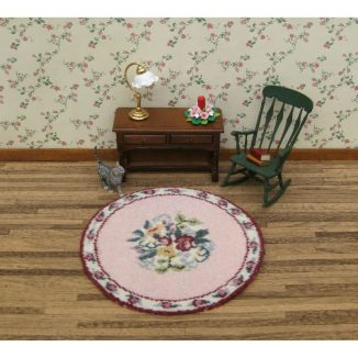 Bella round dollhouse miniature needlepoint embroidery carpet rug kit