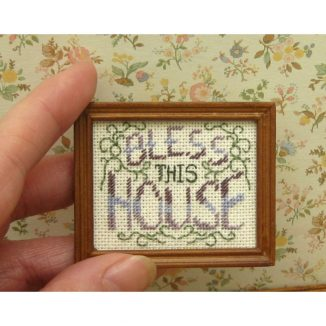 Bless this house dollhouse miniature sampler kit cross stitch accessories