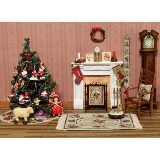 Alice small green carpet rug dollhouse miniature needlepoint half cross stitch kit