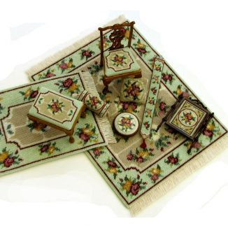 Dollhouse needlepoint Alice green collection