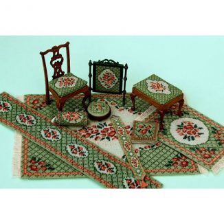 Dollhouse needlepoint Barbara green collection of kits