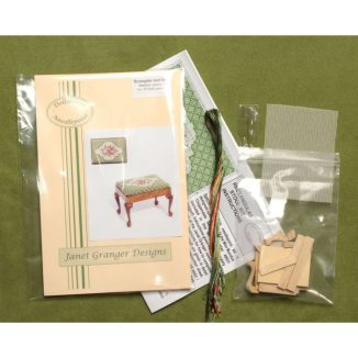 Dollhouse needlepoint Barbara green rectangular stool kit contents