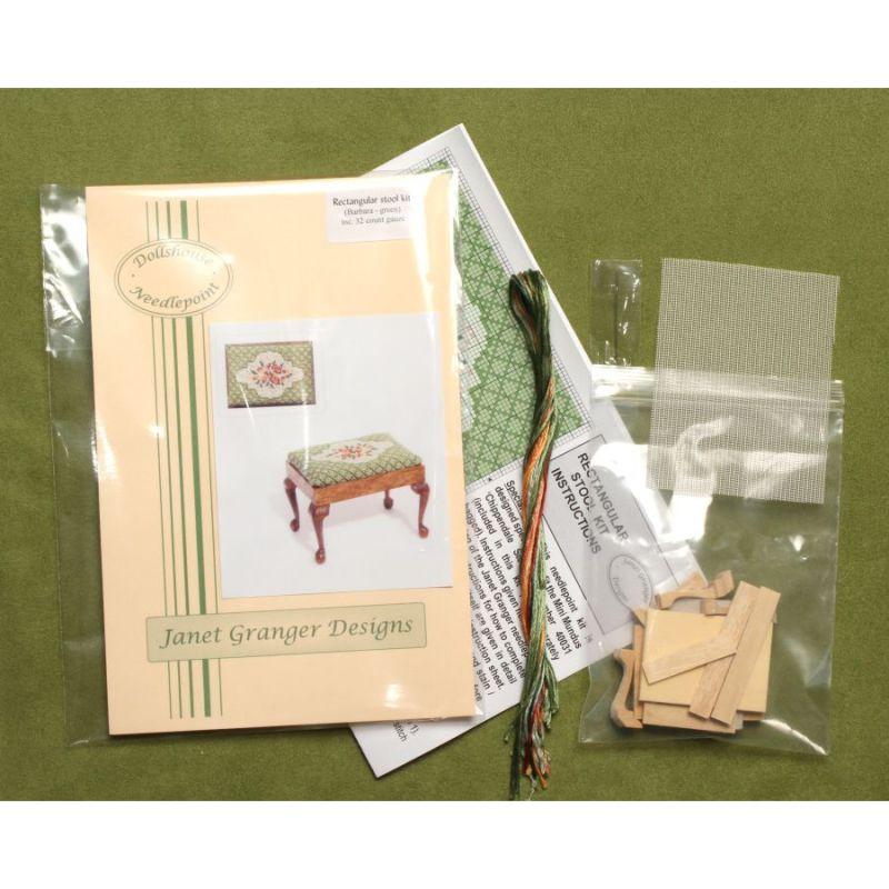 Dollhouse Needlepoint Rectangular Stool Kit Barbara Green