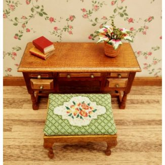 Dollhouse needlepoint Barbara green rectangular stool kit side stool