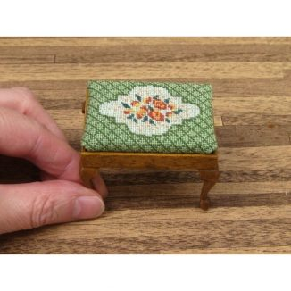 Dollhouse needlepoint Barbara green rectangular stool kit with hand