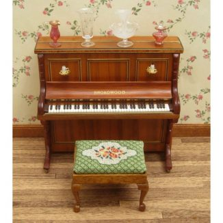 Dollhouse needlepoint Barbara green rectangular stool kit with piano