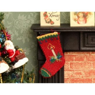 Dollhouse needlepoint Candle Christmas stocking bedroom fireplace