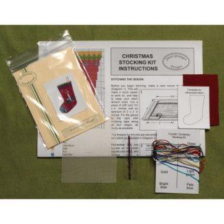 Dollhouse needlepoint Candle Christmas stocking kit contents