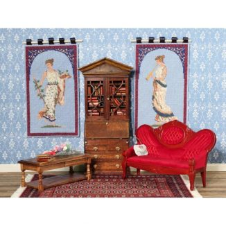 Dollhouse needlepoint Grecian wallhangings