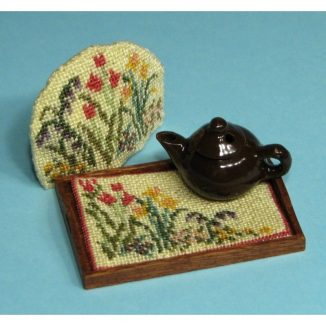 Dollhouse needlepoint Spring Blooms matching kits
