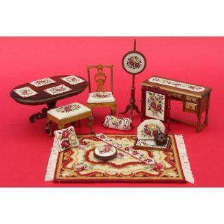Dollhouse needlepoint Summer Roses matching kits