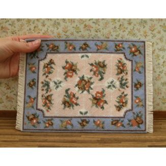 Dollhouse needlepoint carpet rug Alice blue basketweave stitch completed