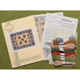 Dollhouse needlepoint carpet rug Alice blue kit contents