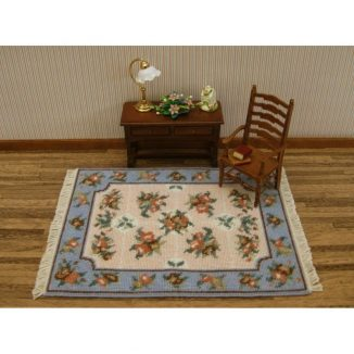 Dollhouse needlepoint carpet rug Alice blue living room furniture