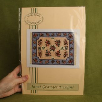 Dollhouse needlepoint carpet rug Alice blue tent stitch kit pack