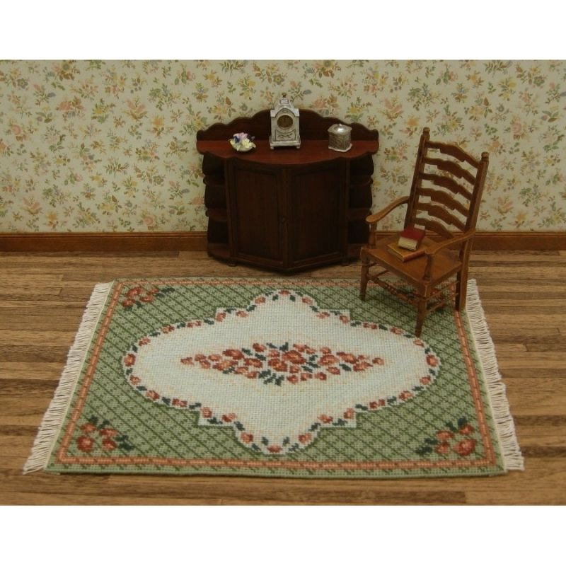 Barbara Large Green Dollhouse Needlepoint Carpet Kit
