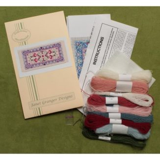 Dollhouse needlepoint carpet rug Carole pastel kit contents