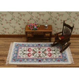 Dollhouse needlepoint carpet rug Carole pastel living room furniture