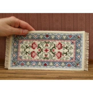 Dollhouse needlepoint carpet rug Carole pastel tent stitch fringe
