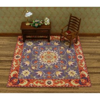 Dollhouse needlepoint carpet rug Elizabeth living room furniture