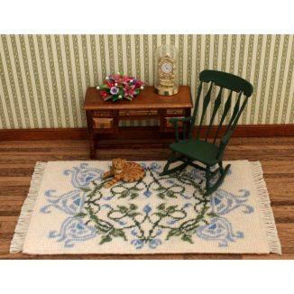 Dollhouse needlepoint carpet rug Josie blue sitting room furniture