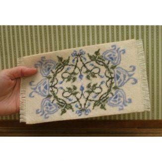 Dollhouse needlepoint carpet rug Josie blue tent stitch fringe