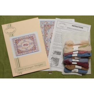 Dollhouse needlepoint carpet rug Judith kit contents