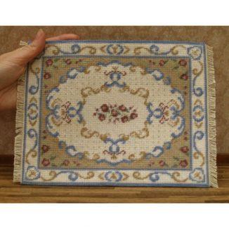 Dollhouse needlepoint carpet rug Judith tent stitch finished