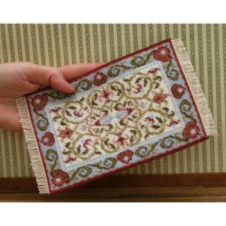 Dollhouse needlepoint carpet rug Prudence cream tent stitch fringe