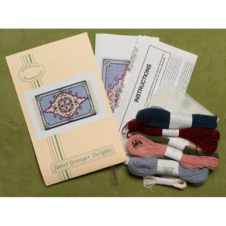 Dollhouse needlepoint carpet rug Sophie kit contents