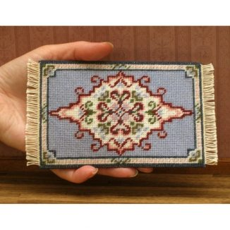 Dollhouse needlepoint carpet rug Sophie tent stitch fringe