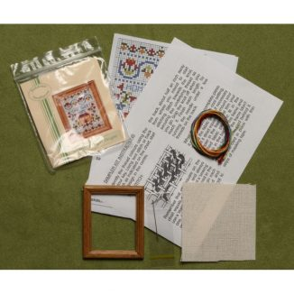 Dollhouse needlepoint sampler Home sweet home kit contents