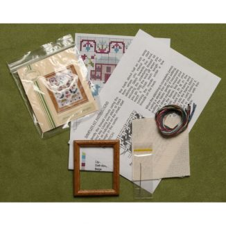 Dollhouse needlepoint sampler Peacock kit contents