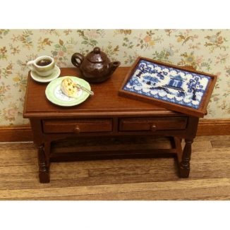Dollhouse needlepoint tray cloth Willow pattern dining room table