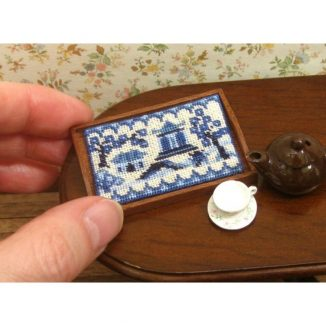 Dollhouse needlepoint tray cloth Willow pattern on kitchen table