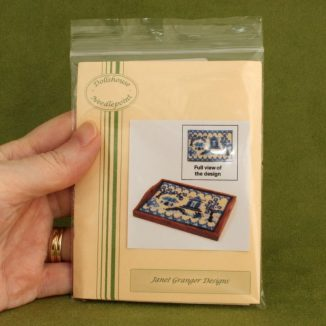 Dollhouse needlepoint tray cloth Willow pattern packet in hand