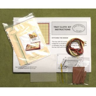 Dollhouse needlepoint traycloth Spring blooms kit contents