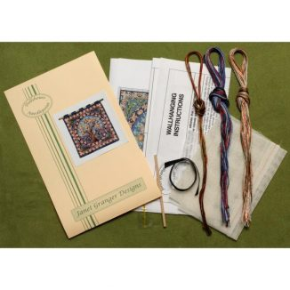 Dollhouse needlepoint wall hanging Orange Tree kit contents