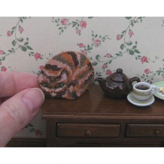 Ginger cat teacosy dollhouse needlepoint petit point embroidery kit decoration