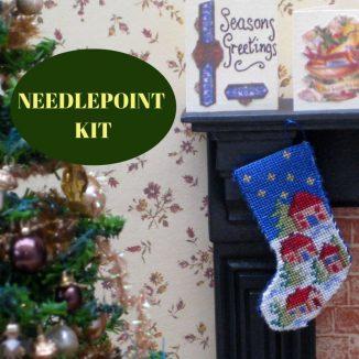 Christmas stocking dollhouse needlepoint embroidery kit