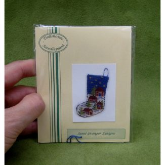 Snowy village Christmas stocking kit dollhouse needlepoint embroidery accessories