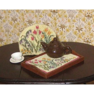 Spring blooms teacosy dollhouse needlepoint petit point embroidery kit decoration